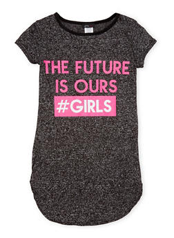 Girls 7-16 Marled Top with The Future is Ours Girls Graphic - 1635072170375