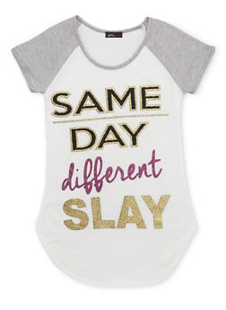 Girls 7-16 Tee with Same Day Different Slay Graphic - 1635072170379