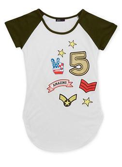 Girls 7-16 Short Sleeve Raglan Top with Assorted Graphics - 1635072170382