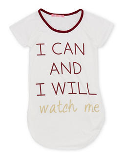 Girls 7-16 Tee with I Can and I Will Graphic - 1635072170390