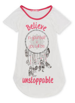 Girls 7-16 Tee with Believe in Yourself Graphic - 1635072170392