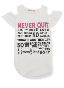 Girls 7-16 Cold Shoulder Top with Never Quit Graphic - 1635072170394