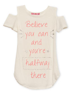 Girls 7-16 Cold Shoulder Tunic Top with Believe Graphic - 1635072170395