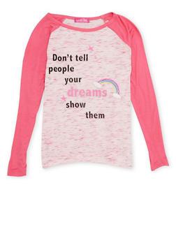 Girls 7-16 Raglan Sleeve Tee with Dreamer Graphic - 1635072170400