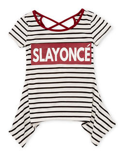 Girls 7-16 Slayonce Striped Caged Back Sharkbite T Shirt - 1635072170404
