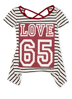 Girls 7-16 Striped Love 65 Graphic Sharkbite Top - 1635072170406