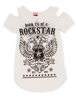 Girls 7-16 Cold Shoulder Born To Be A Rockstar Shirt - 1635072170414