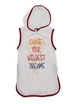 Girls 7-16 Hooded Tunic Top with Wildest Dreams Graphic - 1635072170418