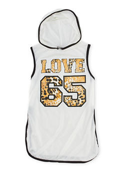 Girls 7-16 Hooded Leopard Love Graphic Top - 1635072170425