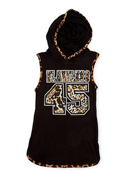 Girls 7-16 Hooded Tunic Top with Flawless Graphic - 1635072170427