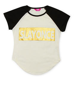 Girls 7-16 Color Block SLAYONCE Graphic T Shirt - 1635072170443