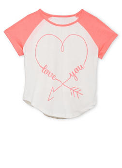 Girls 7-16 Color Block Graphic Love You T Shirt - 1635072170445