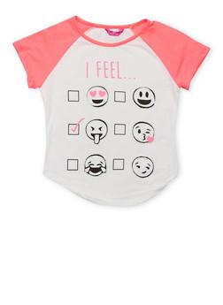 Girls 7-16 Emoji Graphic Raglan T Shirt - 1635072170447