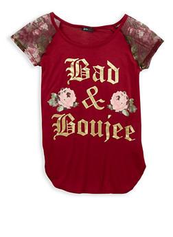 Girls 7-16 Foil Graphic Mesh Sleeve T Shirt - 1635072540001