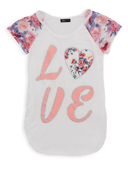 Girls 7-16 Glitter Love Graphic T Shirt - 1635072540002