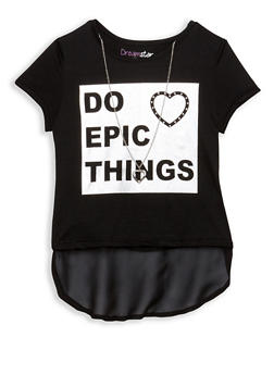 Girls 7-16 Graphic Top with Necklace - BLACK - 1635073990002