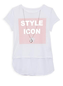 Girls 7-16 Graphic Top with Necklace - WHITE - 1635073990002