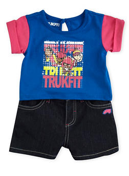 Baby Girl Trukfit Rolled Sleeve Top and Denim Shorts with Sequin Graphic - 1641072912053