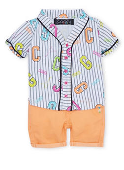 Baby Girl Coogi Striped Top and Cuffed Shorts with CG Print - 1645069388515
