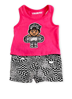 Baby Girl Trukfit High Low Tank Top and Shorts with Mixed Chevron Print - 1645072911026