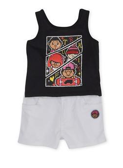 Toddler Girls Trukfit Ruffled Tank Top and Shorts Set - 1671072911055