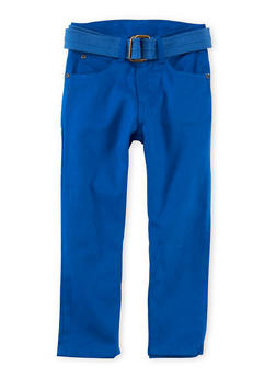Boys 4-7x Solid Twill Pants with Belt - 1701054730003