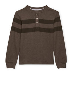 Boys 8-16 French Toast Striped Long Sleeve Pique Henley - 1704068320006