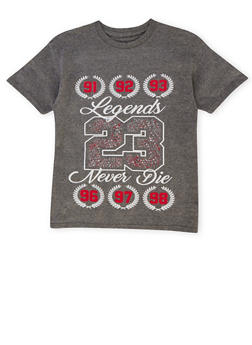 Boys 8-20 Crew Neck Tee with Legends Never Die 23 Print - 1704072560120