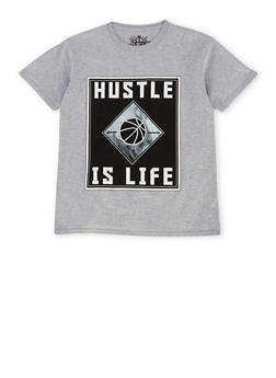 Boys 8-20 Tee with Hustle is Life Graphic - 1704072560123
