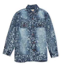 Boys 8-20 Splatter Acid Wash Denim Shirt - 1704073150002