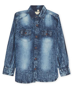 Boys 8-20 Denim Shirt in Acid Wash - 1704073150005