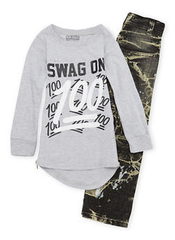 Boys 4-7 Swag On Graphic Top with Jeans Set - 1705071950004