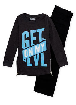Boys 4-7 Jeans and Zipper Shirt with Get on My Lvl Print - 1705071950006