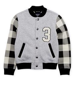 Boys 4-7 French Toast Varsity Jacket with Plaid Sleeves - 1706068320005