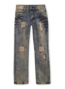 Boys 8-18 Rip and Repair Jeans in Bleach Wash - 1720047380001
