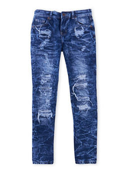 Boys 8-18 Distressed Skinny Jeans in Acid Wash - 1720051100013