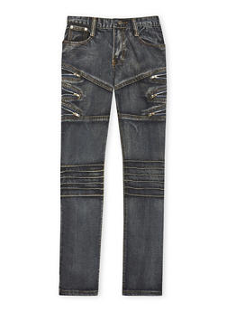 Boys 8-18 Faded Moto Jeans with Zipper Details - 1720063370003