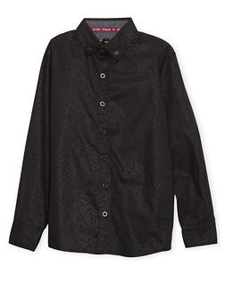 Boys 8-18 Button Front Shirt with Embossed Design - 1721047380010