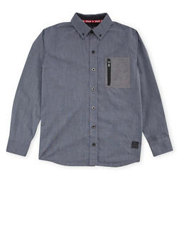 Boys 8-18 Button Up Shirt with Zipper Pocket - 1721047380012