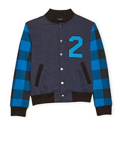 Boys 8-16 French Toast Varsity Jacket with Plaid Sleeves - 1721068320001