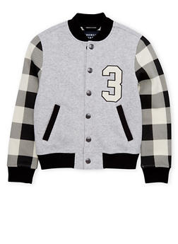 Boys 8-16 French Toast Varsity Jacket with Plaid Sleeves - 1721068320005