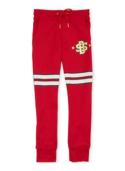 Boys 8-20 Striped Drawstring Joggers with Foil Graphic - 1721072700078