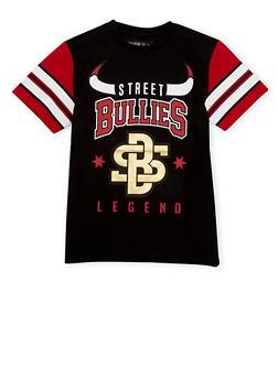 Boys 8-20 Striped Sleeve Tee with Street Bullies Legend Print - 1721072700090