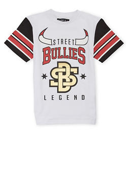 Boys 8-20 Striped Sleeve T Shirt with Street Bullies Graphic - 1721072700091