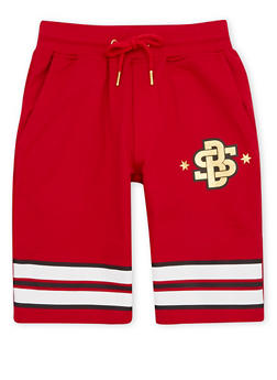 Boys 8-20 Knit Shorts with Gold Foil Graphic and Stripes - 1721072700093