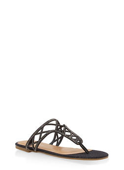 Girls 12-4 Laser Cut Thong Slide Sandals - BLK GLTTR - 1737014060034