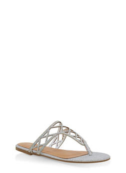 Girls 12-4 Laser Cut Thong Slide Sandals - SILVER - 1737014060034