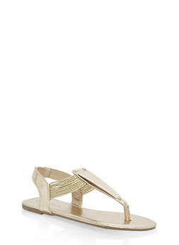 Girls 11-4 Metallic Elastic T Strap Sandals - GOLD - 1737014060037