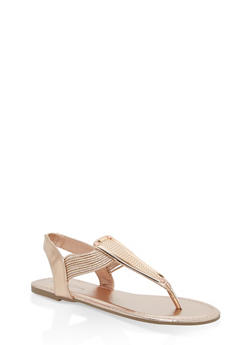 Girls 11-4 Metallic Elastic T Strap Sandals - ROSE GOLD - 1737014060037