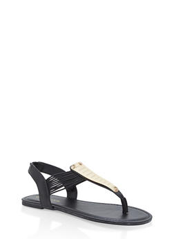 Girls 11-4 Metallic Elastic T Strap Sandals - BLACK - 1737014060038
